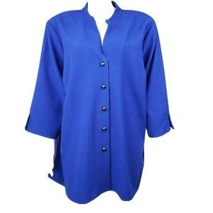 SUSAN GRAVER Blue Collar Shirt Size 2X